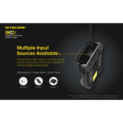 BSS Nitecore UMS2 Intelligent USB QC 3A Charging Four-Slot Li-ion NiMH Battery Charger Bateri Charger