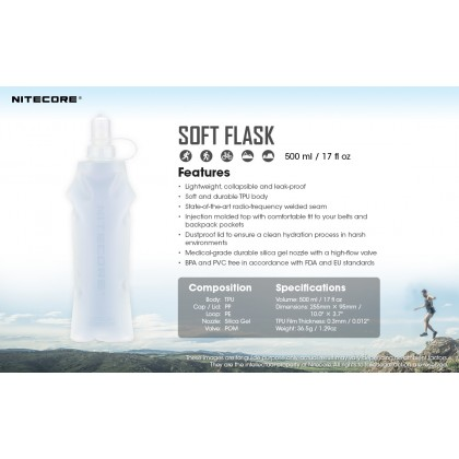 BSS Nitecore Soft Flask Water Bottle 500ml Lightweight Leak-Proof Collapsible Botol Air 500 ML